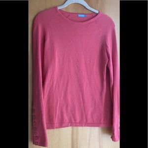 J McLaughlin coral sweater with cuff button detail